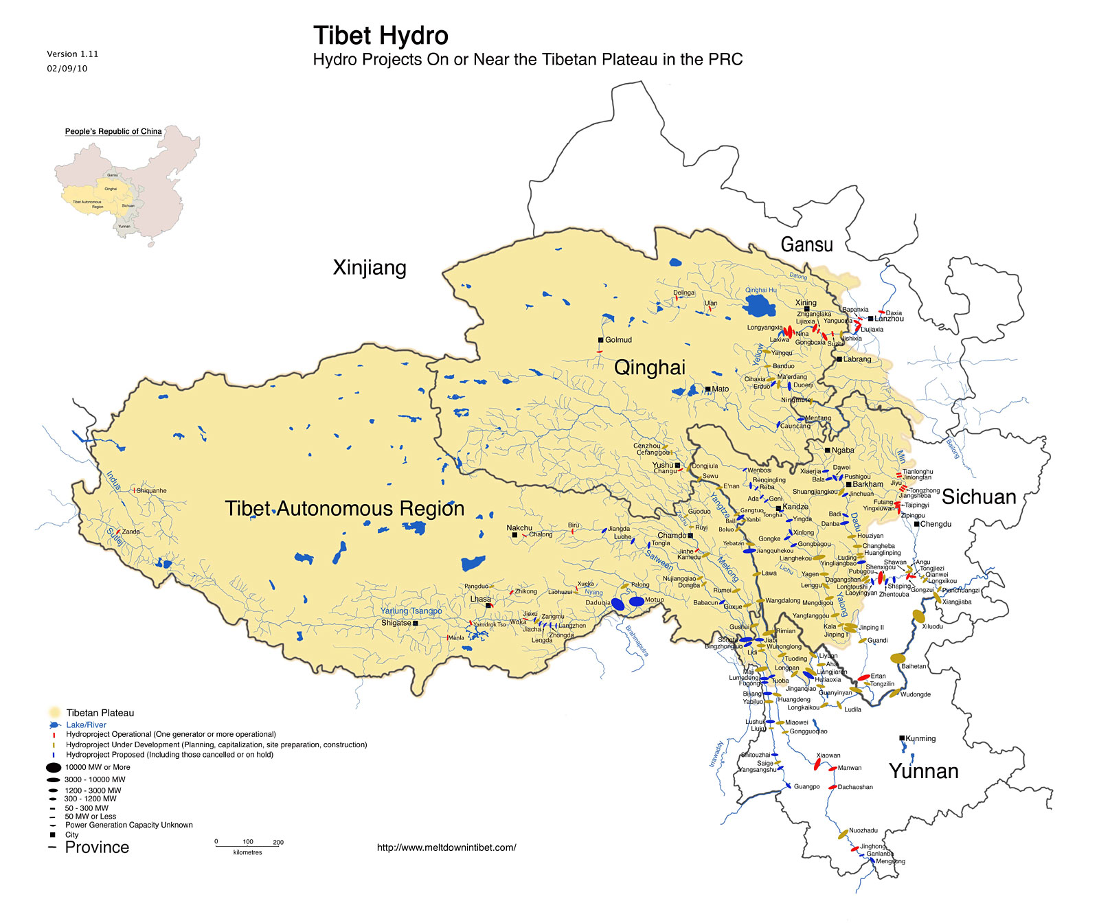 Map of hydro projects on or near the tibetan plateau in china the a map of gumiabroncs Gallery